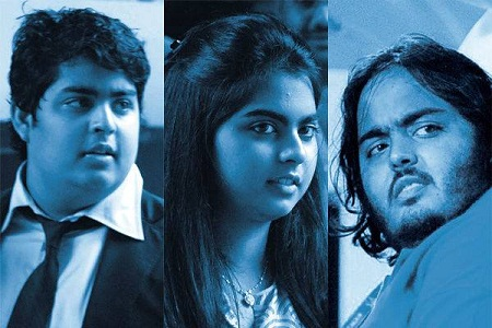 Akash, Isha and Anant Ambani