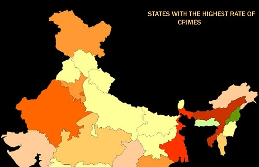 highest crime rate states in india