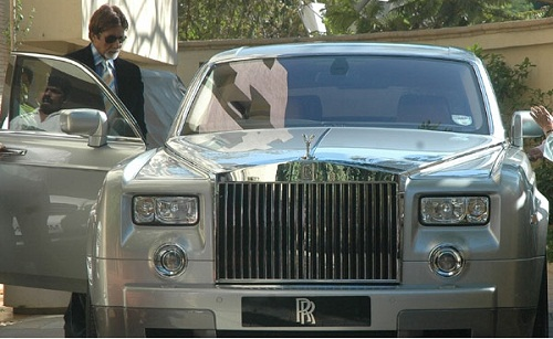 Amitabh Bachchan with rolls royce phantom