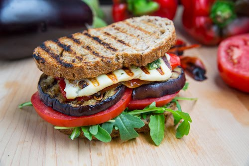 Eggplant with Peppers and Beans Sandwich