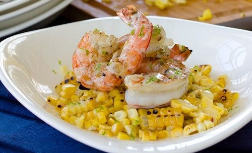Grilled Shrimp and Corn with Creamy Lime Vinaigrette