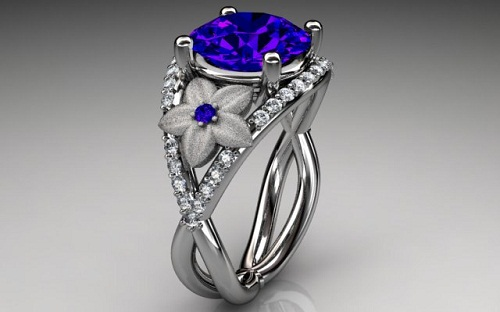 White Diamond Engagement Ring from Blue Sapphire