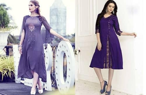 Purple silk kurta