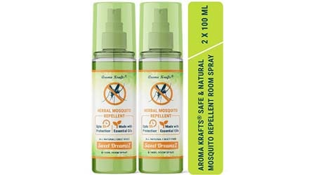 Aromakrafts Natural Mosquito Repellent Room Spray with Essential Oils