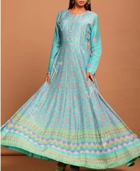 Aqua Vasansi Silk Printed Anarkali Gown