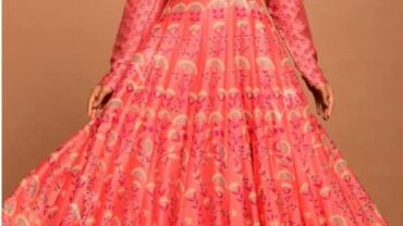 Peach Vasansi Silk Printed Anarkali Gown