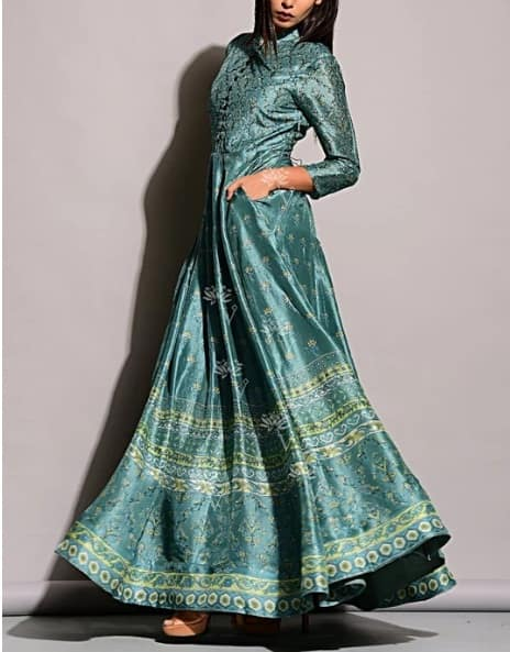 Sage Blue Vasansi Silk Anarkali Gown